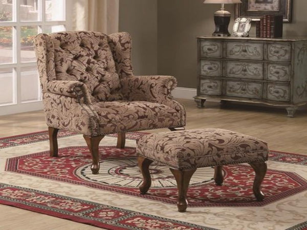 Upholstered Wing Back Chair And Ottoman Katy Furniture