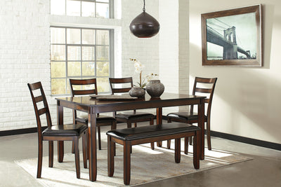 Coviar Dining Table w/4 Chairs and Bench - Katy Furniture