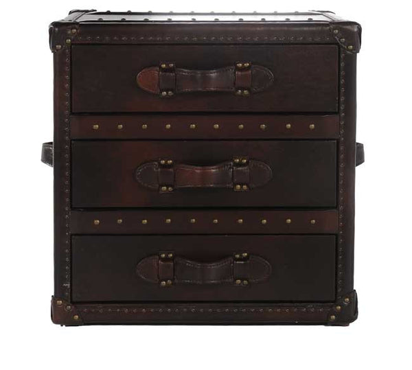 Ideal Leather Steamer Trunk End Table w/ Drawer – Katy Furniture PQ81