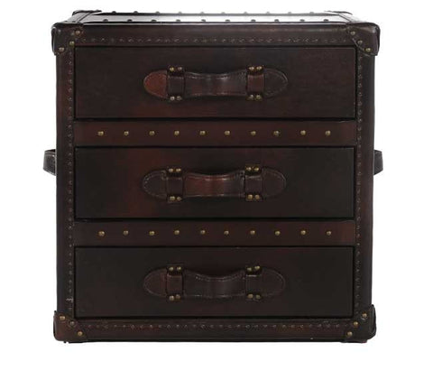 Leather Steamer Trunk End Table w/ Drawer