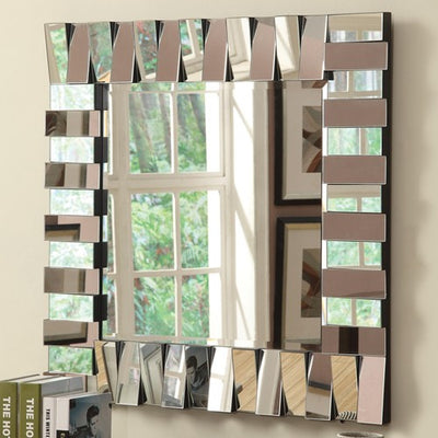 Contemporary Square Wall Mirror in Silver Finish - Katy Furniture