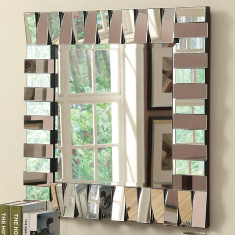 Contemporary Square Wall Mirror in Silver Finish