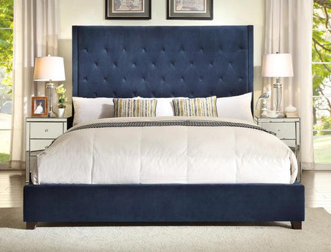 Reese Navy Queen Upholstered Bed with Button Tufting