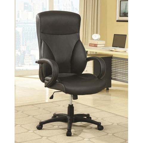High Back Executive Office Chair with Adjustable Seat Height and Vinyl Upholstery