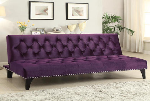 Purple Transitional Sofa Bed with Velvet Upholstery & Nailhead Trim - Katy Furniture