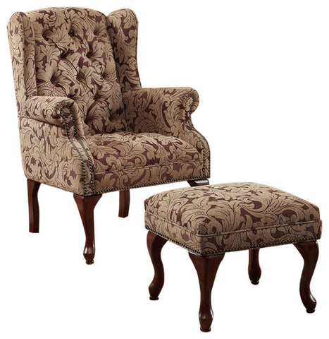 Upholstered Wing Back Chair and Ottoman