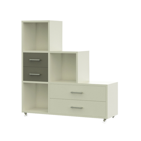 Staggered Shelf and Drawer Unit