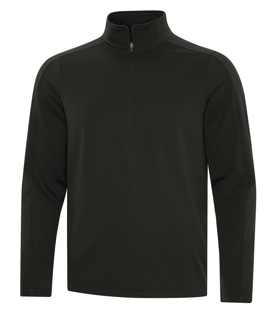 Performance Fleece Sweater: Solid Colours Half Zip - F2035 - Black