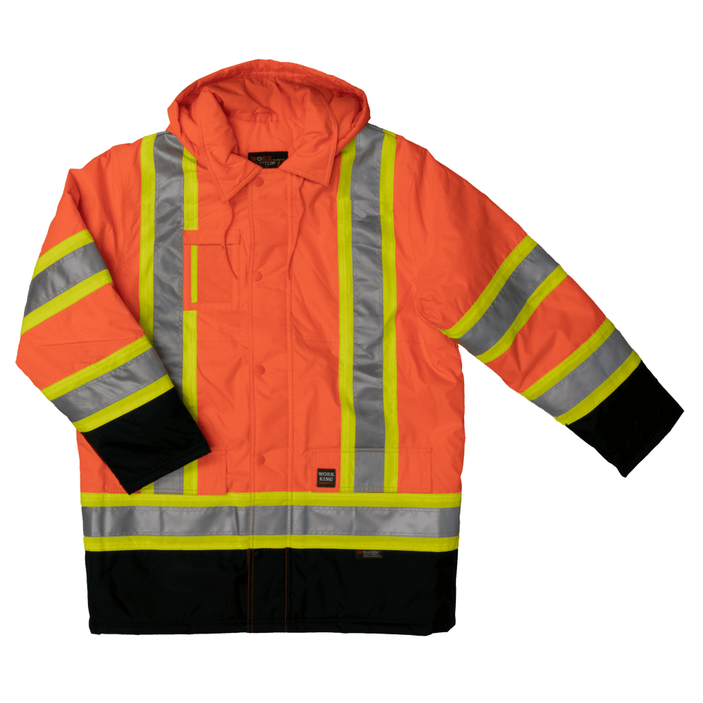 Tough Duck Lined Safety Parka - S176 - Fluorescent Orange