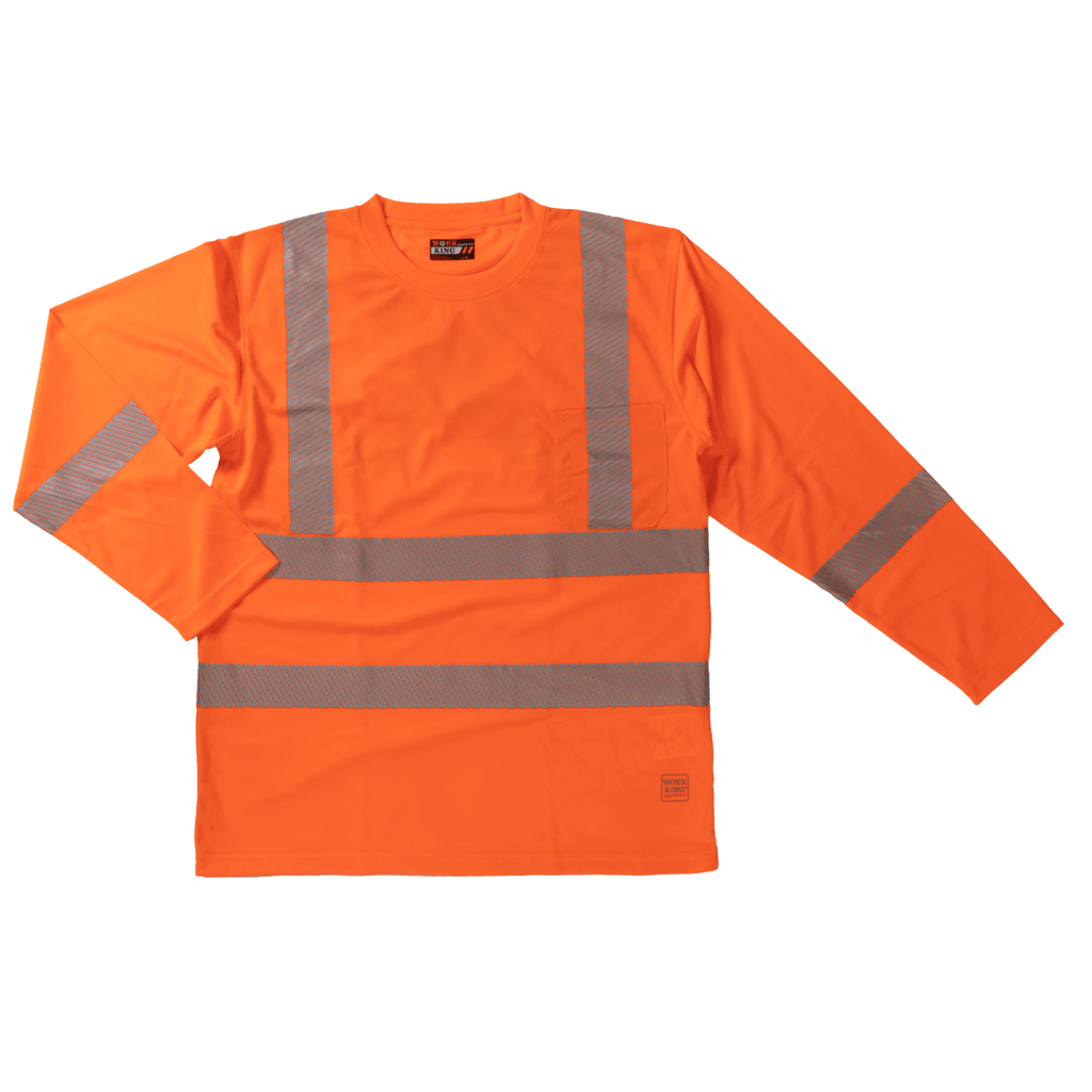 Tough Duck Long Sleeve Safety Shirt with Segmented Stripes - ST08 - Fluorescent Orange
