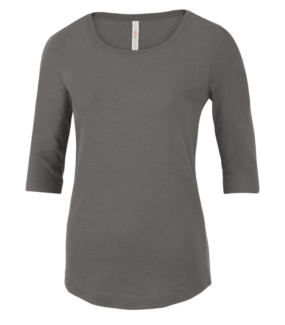 Premium T-Shirt: Women's Cut 3/4 Sleeve - ATC8003L - Coal Grey