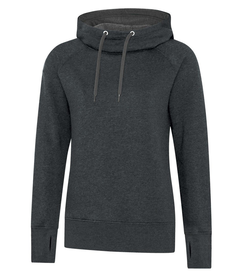 Premium Fleece Sweater: Women's Cut Black Drawstring - L2045 - Black