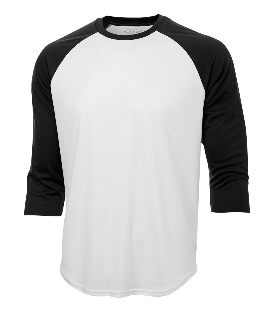 Performance 3/4 Sleeve: Baseball - S3526 - White/Black