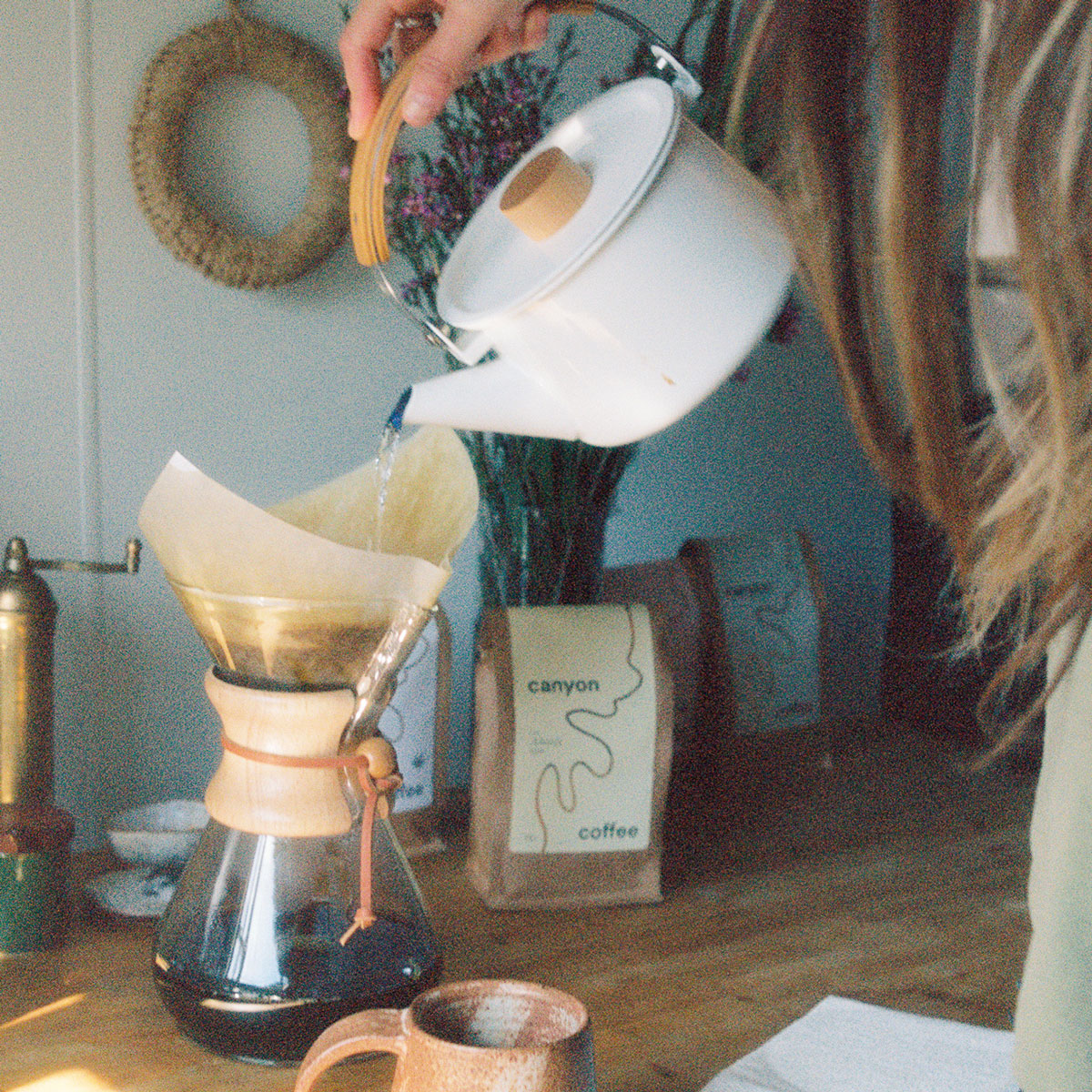 Pouring the hot water over Chemex