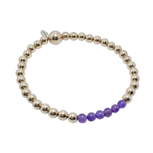 Load image into Gallery viewer, 14kt Gold and Amethyst Bracelet
