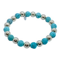 Load image into Gallery viewer, Large 14kt Gold and Turquoise Bead Bracelet
