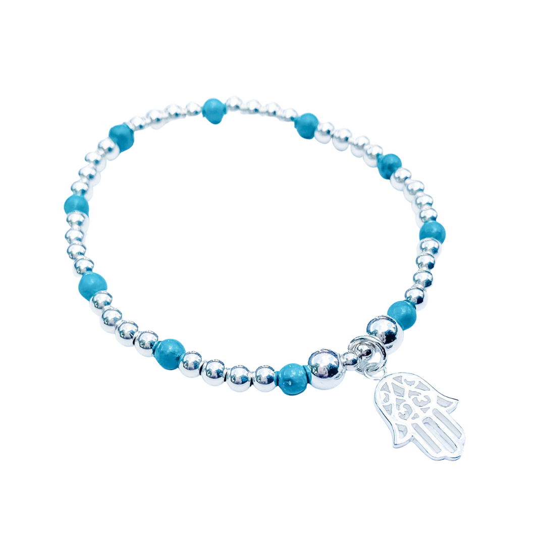 Turquoise and Sterling Silver Hand of Fatima Bracelet