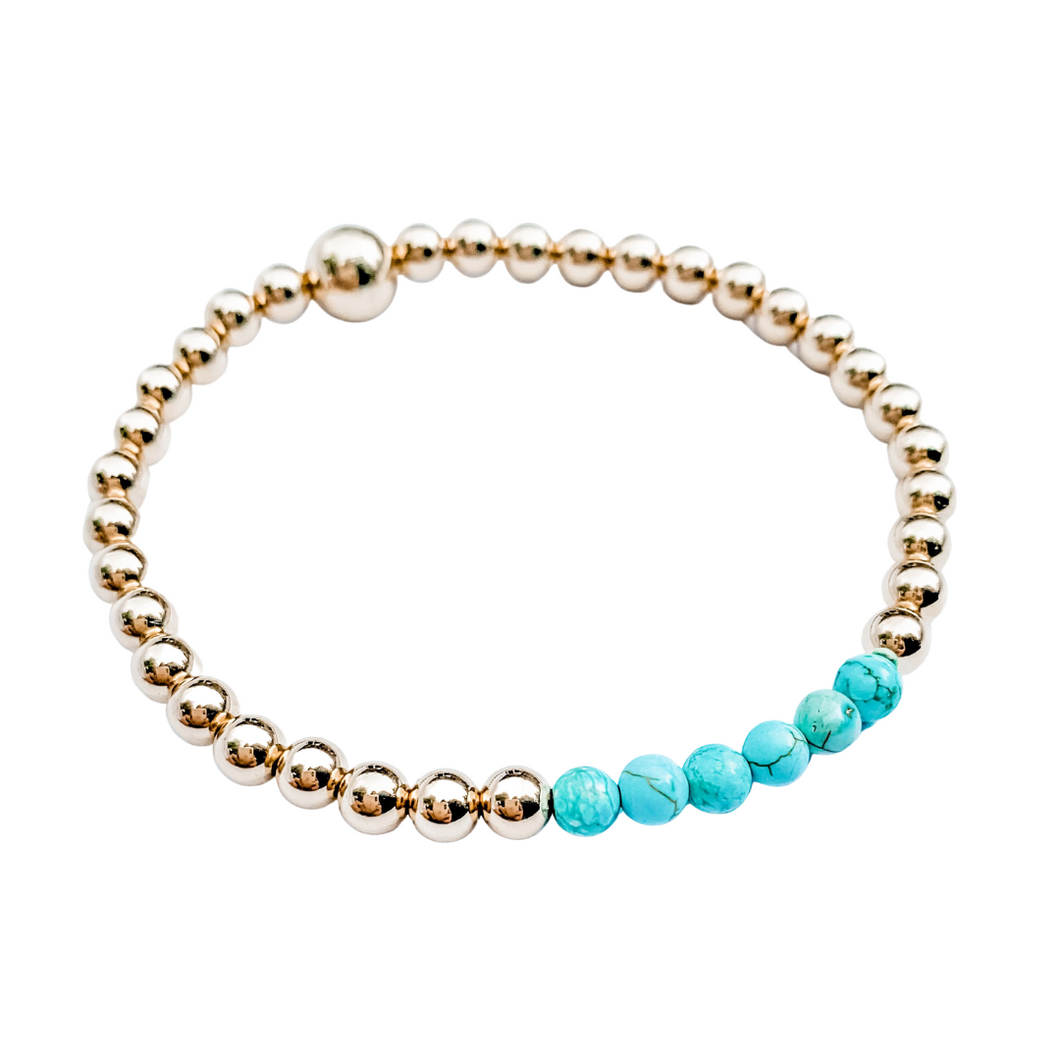 14kt Gold and Turquoise Bracelet