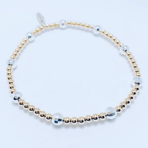 Mini 14kt Gold and Sterling Silver Mirror Ball Bracelet