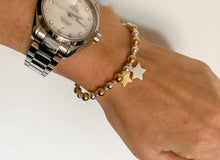 Load image into Gallery viewer, Luxury 24kt Gold and Solid Silver Double Star Bracelet