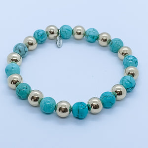Large 14kt Gold and Turquoise Bead Bracelet