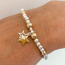 Load image into Gallery viewer, 24kt Gold Double Star and Silver Bracelet