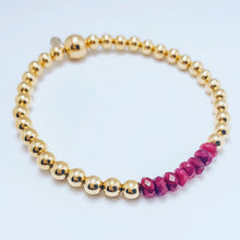 Load image into Gallery viewer, Garnet and 14kt Gold Bracelet