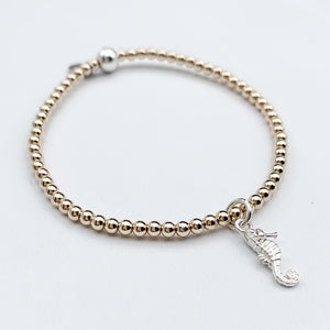 Mini 14kt Gold and Silver Seahorse Bracelet