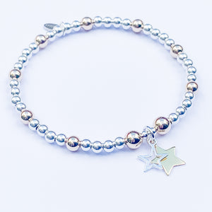 24kt Gold Double Star and Silver Bracelet