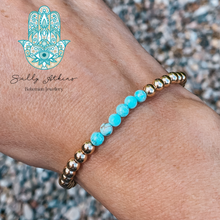 Load image into Gallery viewer, 14kt Gold and Turquoise Bracelet