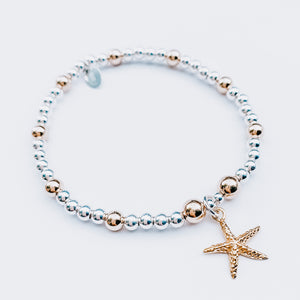 14kt Gold and 24kt Gold Silver Starfish Bracelet