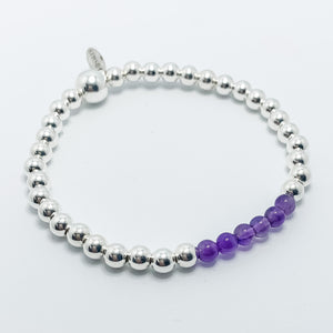 Amethyst and Silver Bracelet