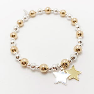 Luxury 24kt Gold and Solid Silver Double Star Bracelet