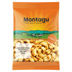 Montagu Cashew W320 Roasted and Salted 500g Pack of 6