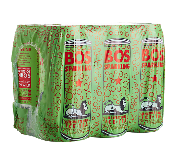 BOS Ice Tea Sparkling Pineapple and Coconut 300ml can 6pack