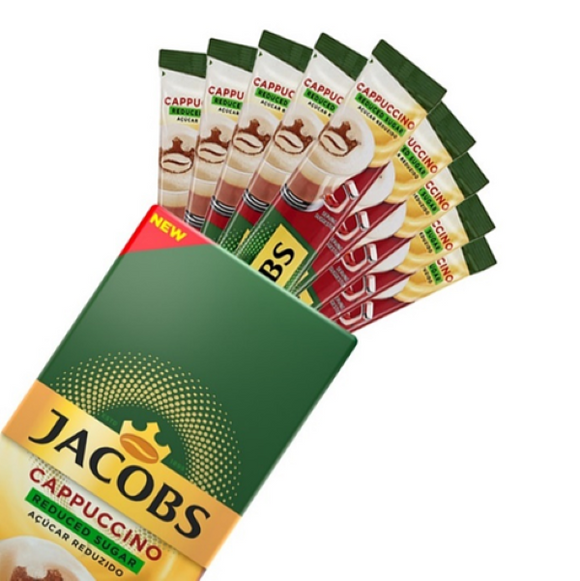 Jacobs Instant Coffee Reduced Sugar Cappuccino 10 sticks (10 drinks)