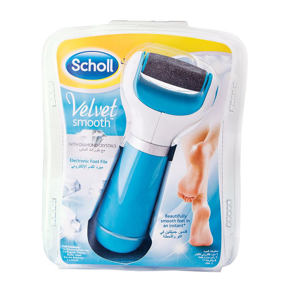 Scholl Velvet Smooth Electronic Foot File Blue with Diamond Crystals