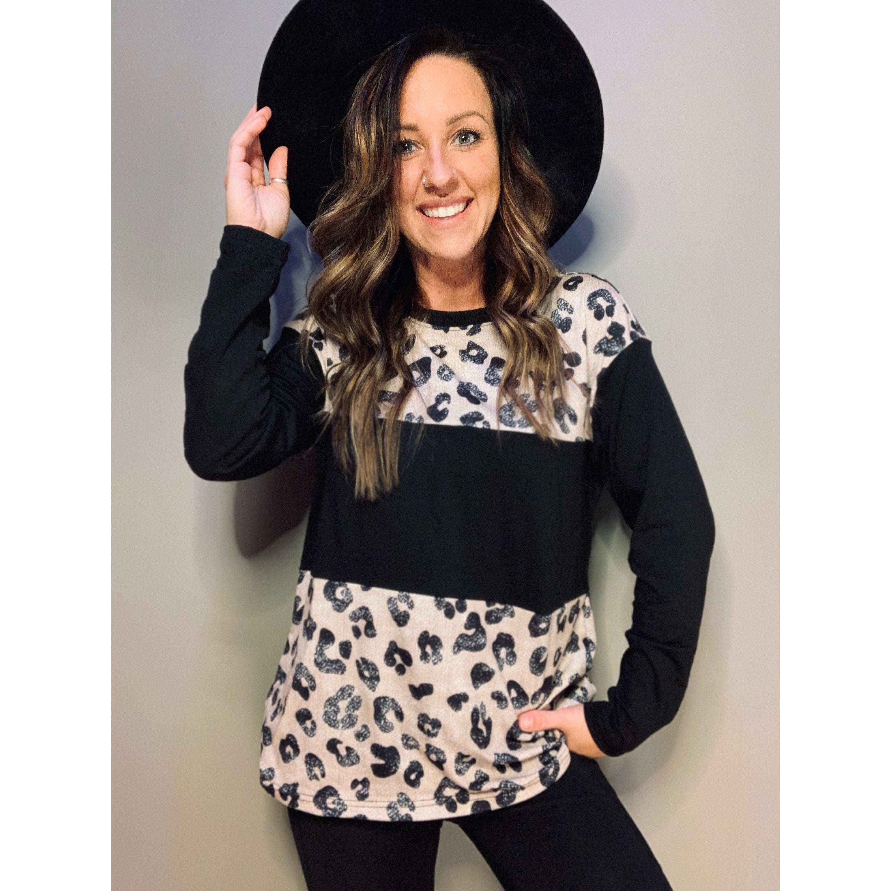 Black Long Sleeve with Leopard - RTS