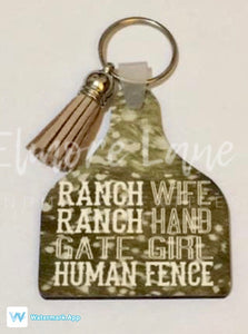 Ranch Wife Farm Tag Keychain
