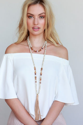 Anything Goes Beaded Tassel Necklace