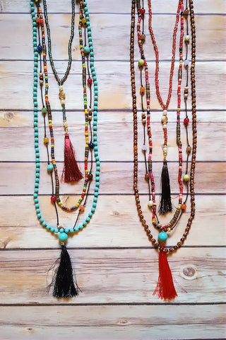 Bohemian Beaded Tassel Necklace