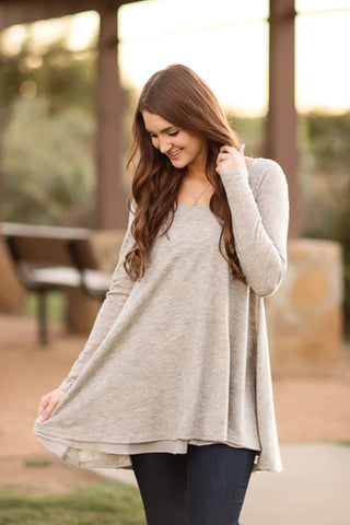 Icing On The Cake Tunic-Heather Grey