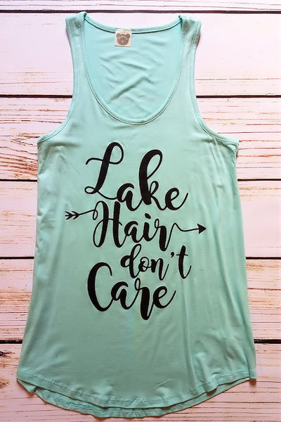 Lake Hair Don't Care Graphic Tank Top (Mint)