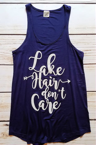 Lake Hair Don't Care Graphic Tank Top (Navy)