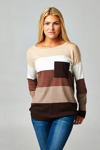 LOVESTITCH-Colorblock Sweater (Chocolate)