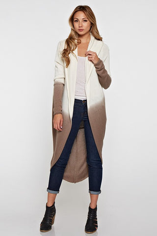 LOVESTITCH-Ombre Cocoon Cardigan (Taupe)