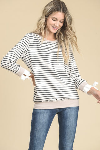 Side Tie Striped Pullover
