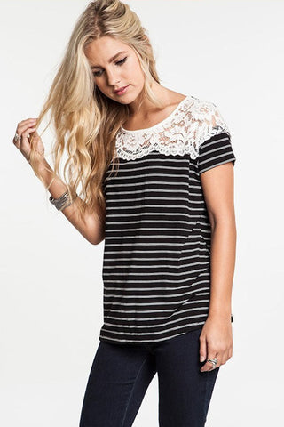 UMGEE-Little Bit O'Lace Striped Top (Black)