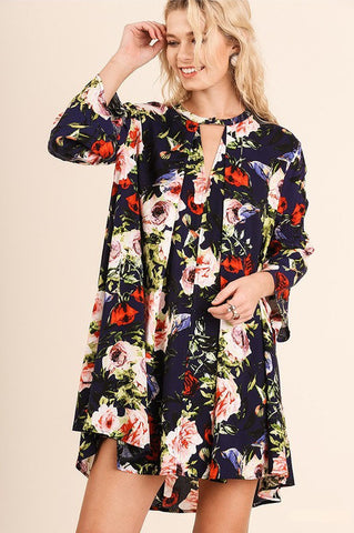 UMGEE-Strike a Rose Floral Dress (Navy)