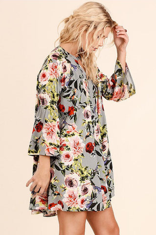 UMGEE-Strike a Rose Floral Dress (Slate)